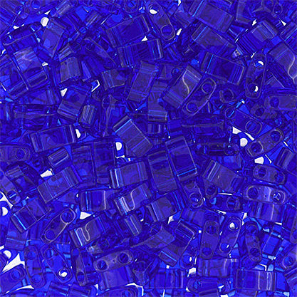 10g Miyuki Half Tila Beads Rectangle Two Hole - Ocean Blue Transparent (5x2.3x1.9mm) (HTL0151)