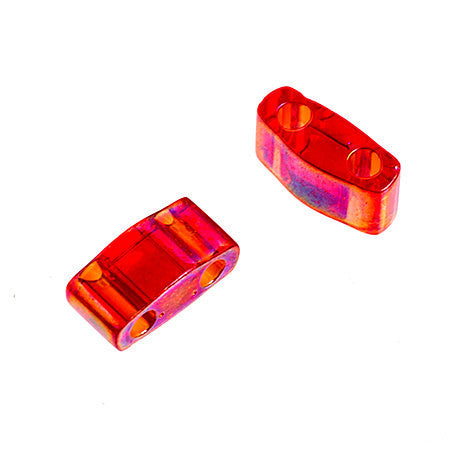10g Miyuki Half Tila Beads Rectangle Two Hole - Red Transparent AB (5x2.3x1.9mm) (HTL0254)