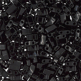 10g Miyuki Half Tila Beads Rectangle Two Hole - Black Opaque (5x2.3x1.9mm) (HTL0401)