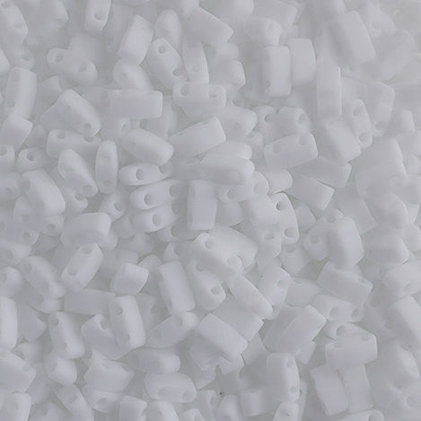 10g Miyuki Half Tila Beads Rectangle Two Hole - Chalk White Opaque Matte (5x2.3x1.9mm) (HTL0402F)