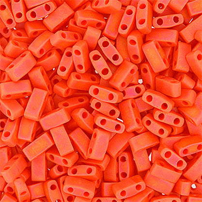 10g Miyuki Half Tila Beads Rectangle Two Hole - Coral Opaque AB Matte (5x2.3x1.9mm) (HTL0406FR)