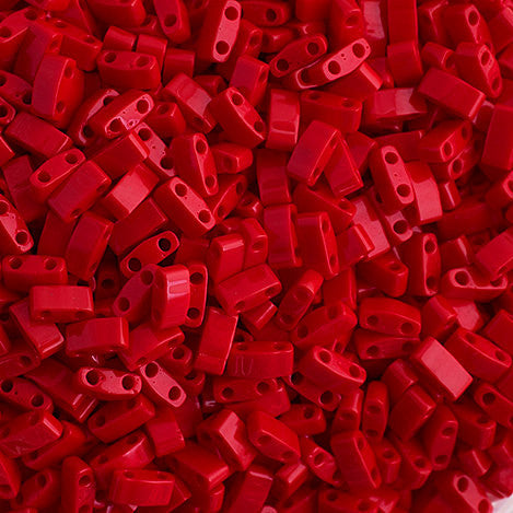 10g Miyuki Half Tila Beads Rectangle Two Hole - Red Opaque (5x2.3x1.9mm) (HTL0408)