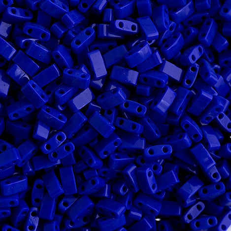 10g Miyuki Half Tila Beads Rectangle Two Hole - Royal Blue Opaque Luster (5x2.3x1.9mm) (HTL0414)