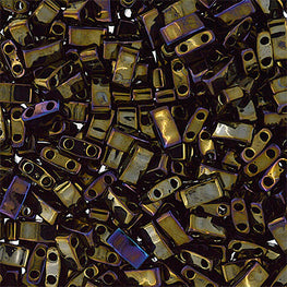 10g Miyuki Half Tila Beads Rectangle Two Hole - Brown Opaque Iris Metallic (5x2.3x1.9mm) (HTL0458)