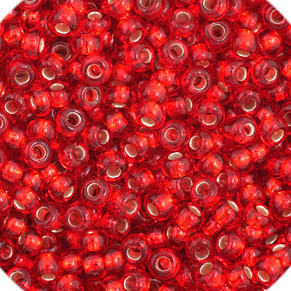 20g Preciosa Czech Rocaille Glass Seed Beads - Red SL - 11/0 (CZ11-34971)