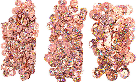 700pcs Metallic Hologram Faceted Sequins with Hole - Peach (6mm, 8mm, 10mm) (120-04)