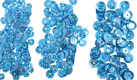 700pcs Metallic Hologram Faceted Sequins with Hole - Coblat Blue (6mm, 8mm, 10mm (120-13)