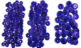700pcs Metallic Hologram Faceted Sequins with Hole - Blue (6mm, 8mm, 10mm (120-16)
