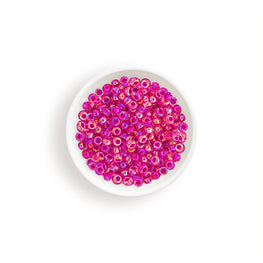 20g Miyuki® Japanese Round Rocailles Glass Seed Beads - Crystal Hot Pink Lined AB - 6/0, 8/0, 11/0, 15/0 (#0355)