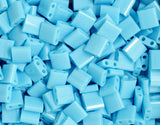 10g Miyuki Tila Beads Square Twin Hole - Turquoise Blue Opaque (5x5x1.9mm) (TL413)