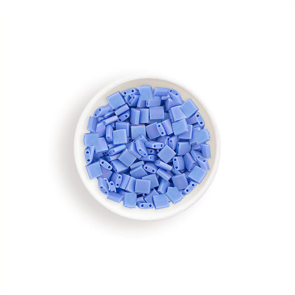 10g Miyuki Tila Beads Square Twin Hole - Light Lapis Blue Opaque AB Matte (5x5x1.9mm) (TL417LFR)