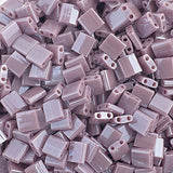 10g Miyuki Tila Beads Square Twin Hole - Chocolate Brown Opaque Luster (5x5x1.9mm) (TL437)