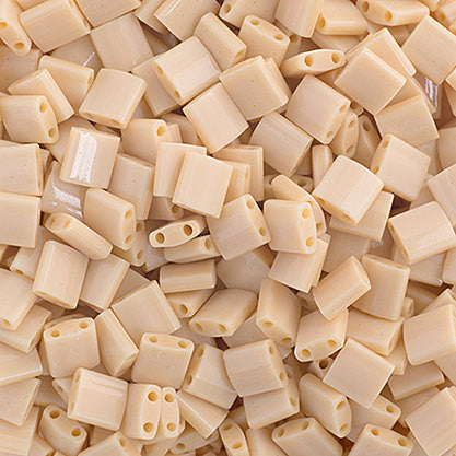 10g Miyuki Tila Beads Square Twin Hole - Papaya Whip Opaque (5x5x1.9mm) (TL493)