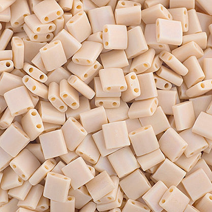 10g Miyuki Tila Beads Square Twin Hole - Papaya Whip Opaque AB Matte (5x5x1.9mm) (TL493FR)