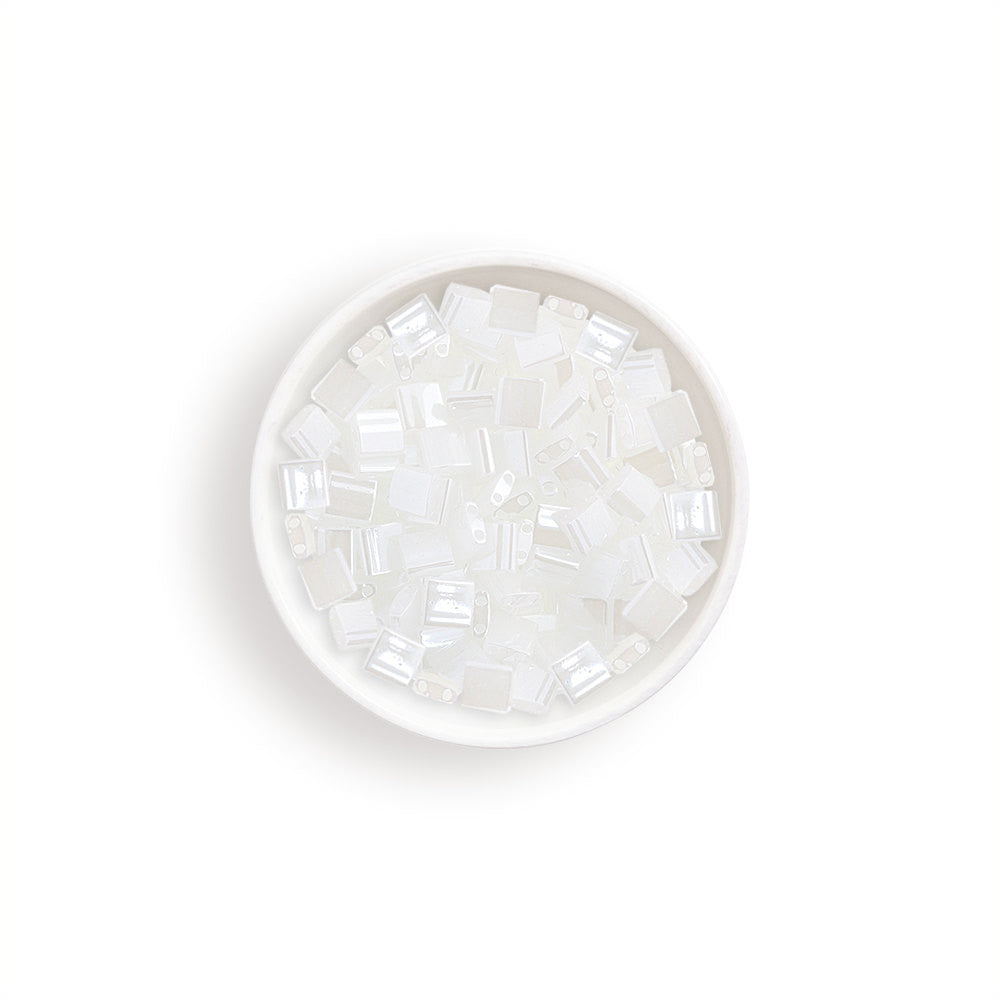 10g Miyuki Tila Beads Square Twin Hole - White Opaque Luster (5x5x1.9mm) (TL511)
