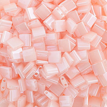 10g Miyuki Tila Beads Square Twin Hole - Pink Opaque Luster (5x5x1.9mm) (TL519)
