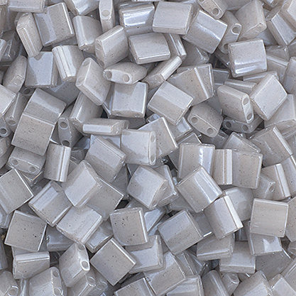 10g Miyuki Tila Beads Square Twin Hole - Silver Gray Opaque Luster (5x5x1.9mm) (TL526)