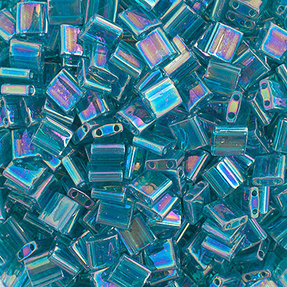 10g Miyuki Tila Beads Square Twin Hole - Turquoise Green Transparent AB Luster (5x5x1.9mm) (TL2458)