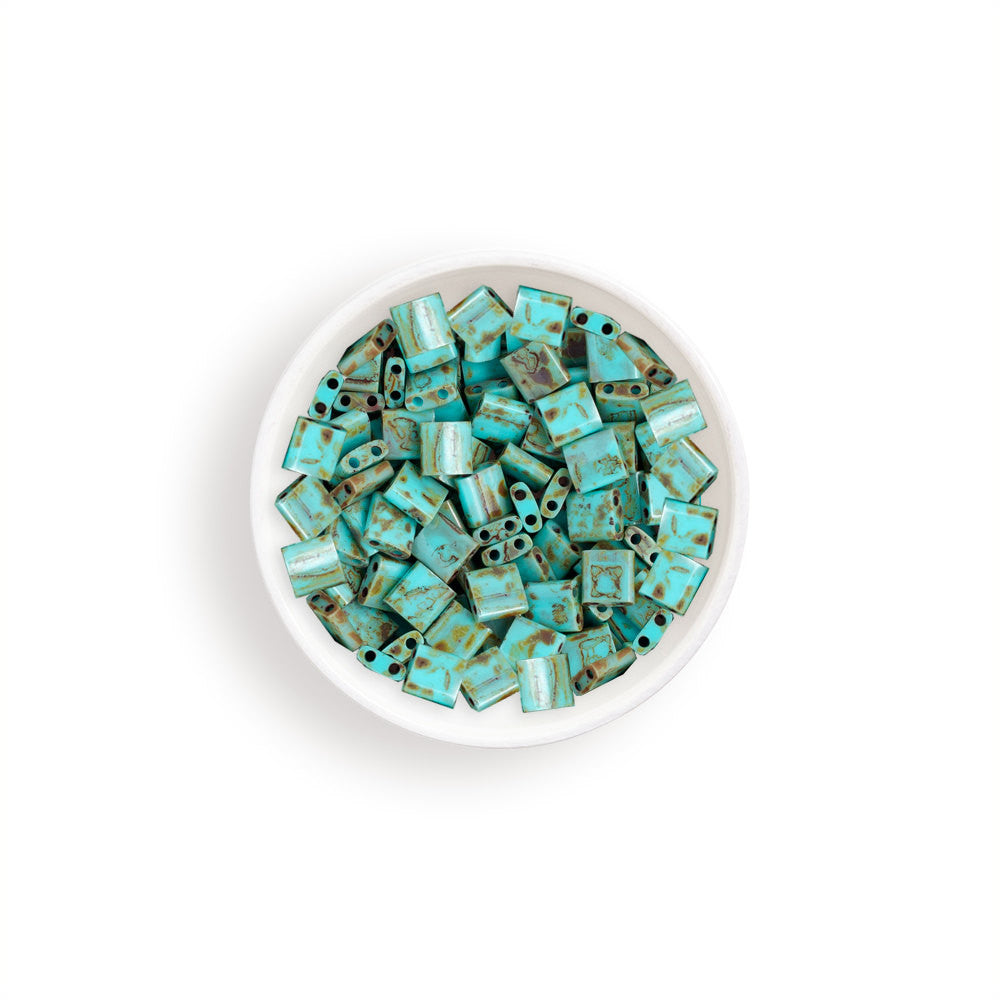10g Miyuki Tila Beads Square Twin Hole - Turquoise with Brown Picasso Opaque (5x5x1.9mm) (TL4514)