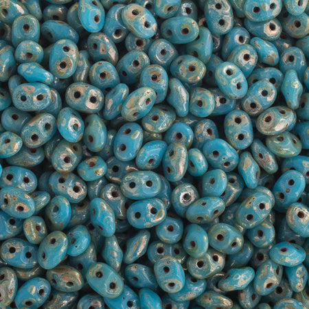 20g Czech SuperDuo Seed Beads - Blue Turquoise Picasso Silver (5x2.5mm) (SD005)