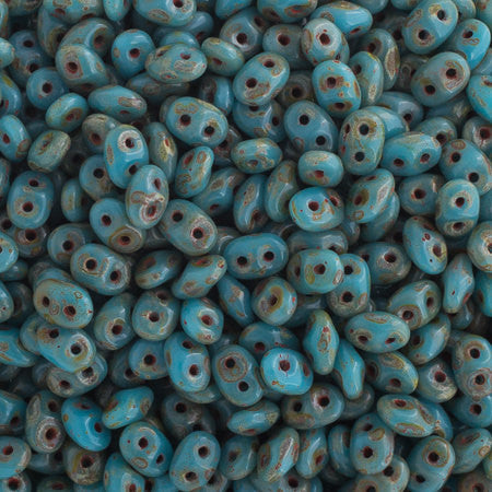 20g Czech SuperDuo Seed Beads - Blue Turquoise Picasso (5x2.5mm) (SD006)