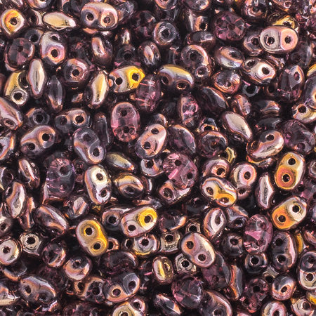 20g Czech SuperDuo Seed Beads - Copper Amethyst (5x2.5mm) (SD030)