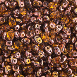 20g Czech SuperDuo Seed Beads - Copper Topaz (5x2.5mm) (SD032)