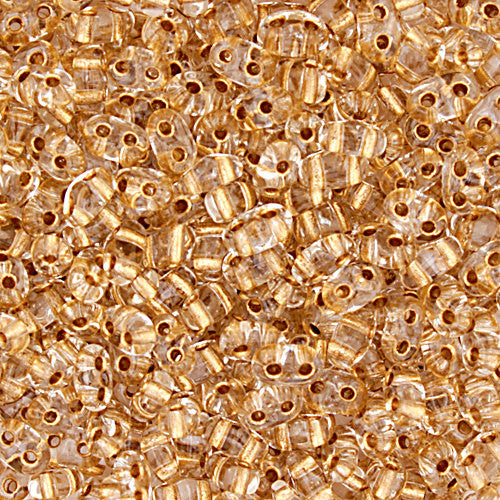 30g Preciosa Twin Czech Two-Hole Seed Beads - Transparent Crystal Bronze Lined (5x2.5mm) (CT2005)