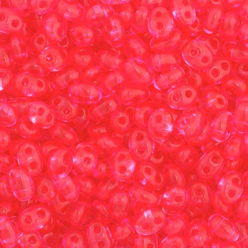 30g Preciosa Twin Czech Two-Hole Seed Beads - Transparent Pink Dyed (5x2.5mm) (CT2015)