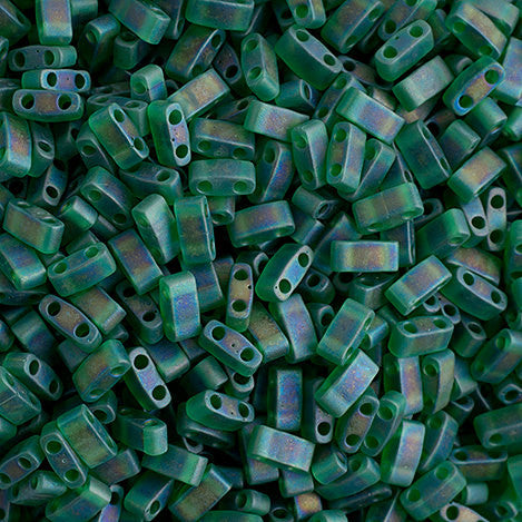 10g Miyuki Half Tila Beads Rectangle Two Hole - Light Emerald Transparent AB Matte (5x2.3x1.9mm) (HTL0146FR)