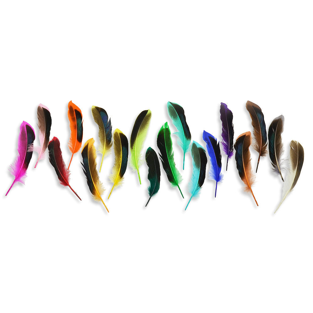 10pcs Mallard Duck Wing Feathers - Neon Yellow (3-5 inches)