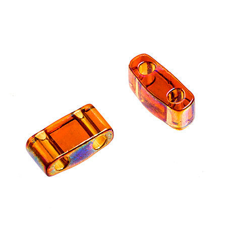 10g Miyuki Half Tila Beads Rectangle Two Hole - Dark Amber Transparent AB (5x2.3x1.9mm) (HTL0257)