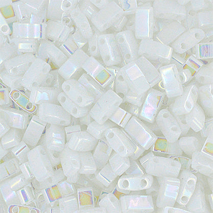 10g Miyuki Half Tila Beads Rectangle Two Hole - White Pearl Opaque AB (5x2.3x1.9mm) (HTL0471)