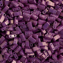 10g Miyuki Half Tila Beads Rectangle Two Hole - Amethyst Opaque (5x2.3x1.9mm) (HTL1867)