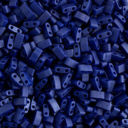 10g Miyuki Half Tila Beads Rectangle Two Hole - Cobalt Opaque Matte (5x2.3x1.9mm) (HTL2075)