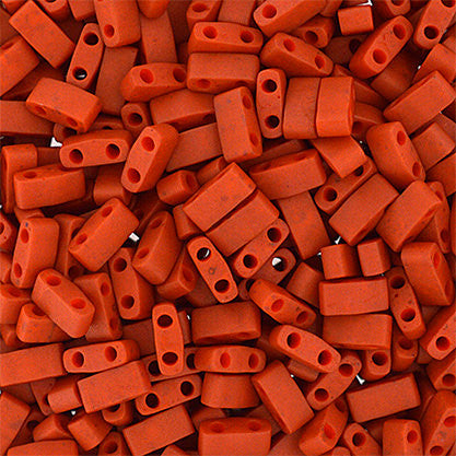 10g Miyuki Half Tila Beads Rectangle Two Hole - Dark Orange Opaque Matte (5x2.3x1.9mm) (HTL2315)
