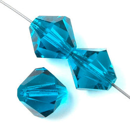 Czech Bicone Crystal Beads - Blue Zircon - 4mm, 8mm, 10mm (#0900)