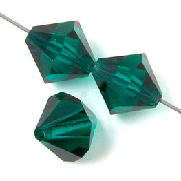 Czech Bicone Crystal Beads - Emerald - 4mm, 5mm, 6mm, 8mm, 10mm (#2500)