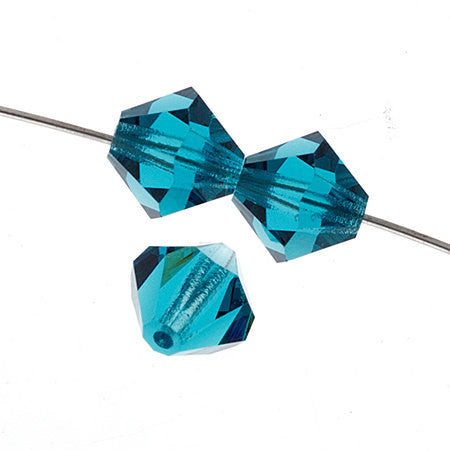 Czech Bicone Crystal Beads - Indicolite - 4mm, 6mm, 8mm (#7400)