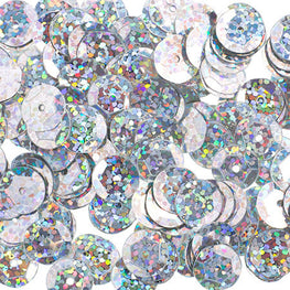 700pcs Metallic Hologram Faceted Sequins with Hole - Silver (6mm, 8mm, 10mm) (120-01)