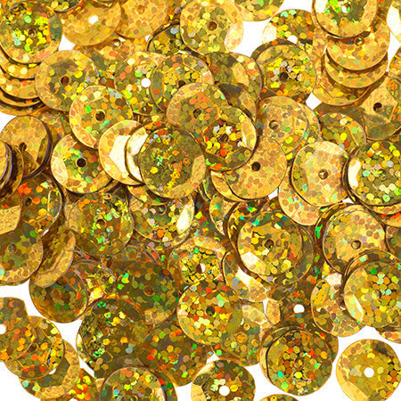 700pcs Metallic Hologram Faceted Sequins with Hole - Light Gold (6mm, 8mm, 10mm) (120-03)