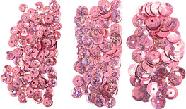 700pcs Metallic Hologram Faceted Sequins with Hole - Pink (6mm, 8mm, 10mm) (120-06)