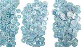 700pcs Metallic Hologram Faceted Sequins with Hole - Sky Blue (6mm, 8mm, 10mm (120-12)