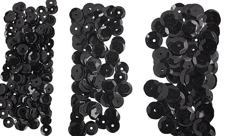700pcs Metallic Hologram Faceted Sequins with Hole - Black (6mm, 8mm, 10mm (120-20)