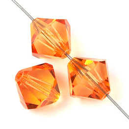 Czech Bicone Crystal Beads - Tangerine - 8mm, 10mm (#7300)