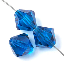 Czech Bicone Crystal Beads - Capri Blue - 4mm, 5mm, 6mm, 8mm, 10mm (#1100)