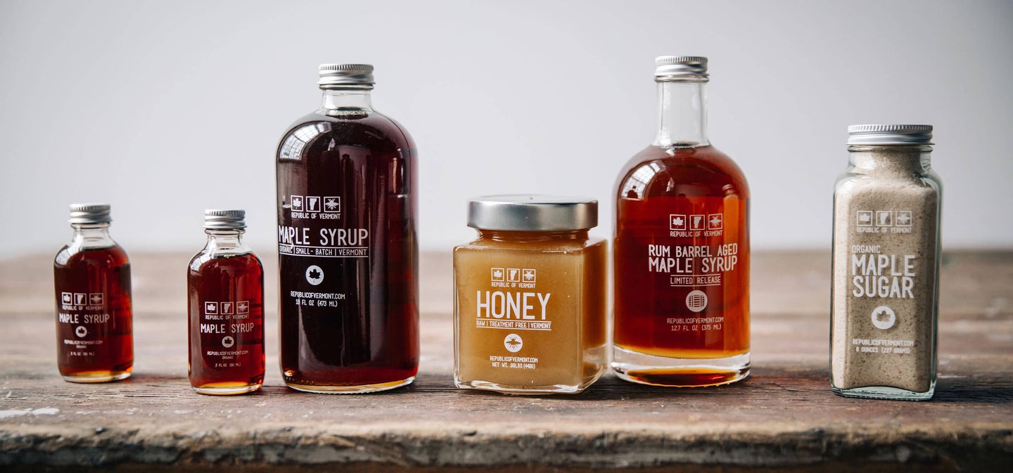 Vermont Honey & <br> Organic Maple Syrup