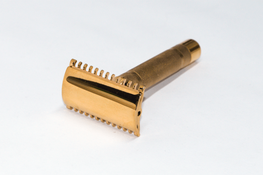 1930's Gillette New Short Comb Three Piece Gold Plated Safety Razor + Free Shaving Soap