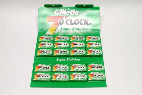 100 Gillette 7 O'Clock Super Stainless (Green) DE Razor Blades - Cooper & French