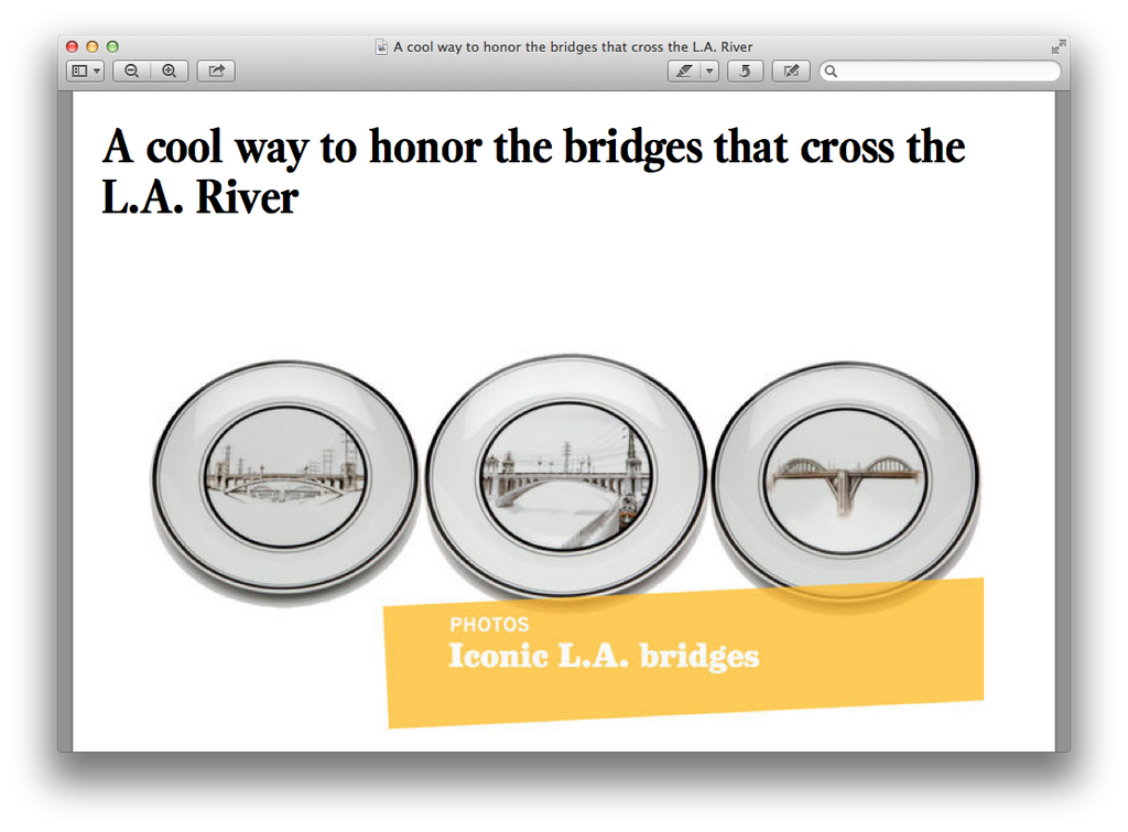 "L.A. Times Calls The River Bridges Plates are ""cool."""